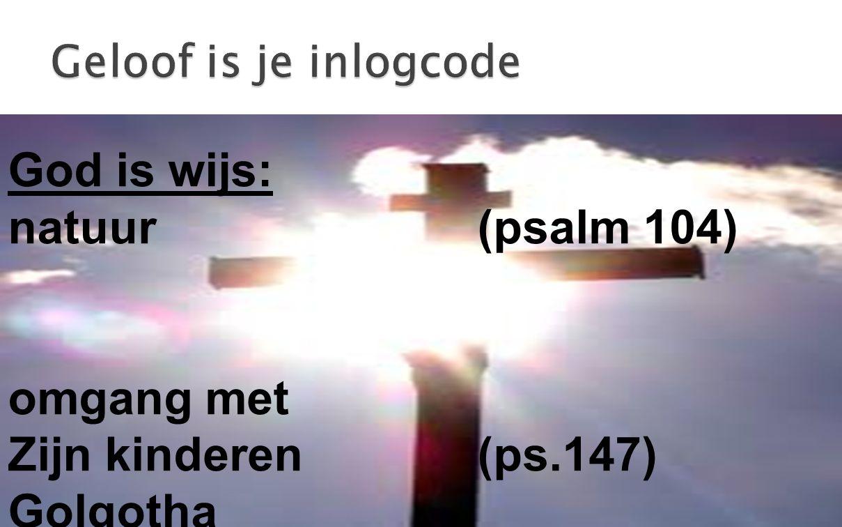 God is wijs: natuur (psalm 104) omgang met Zijn kinderen (ps.147)