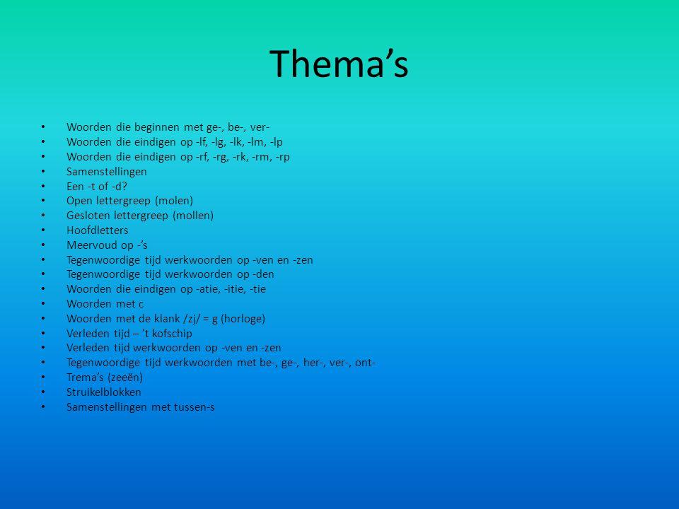 Thema's Woorden die beginnen met ge-, be-, ver-