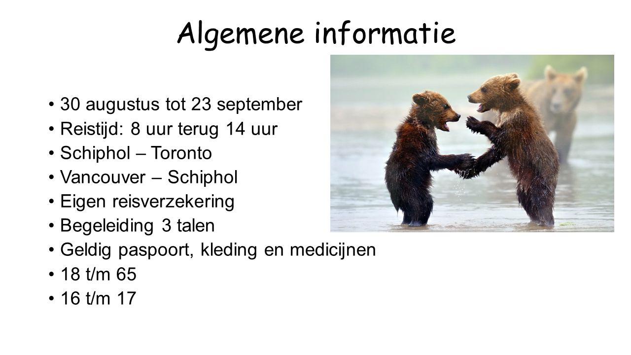 Algemene informatie 30 augustus tot 23 september