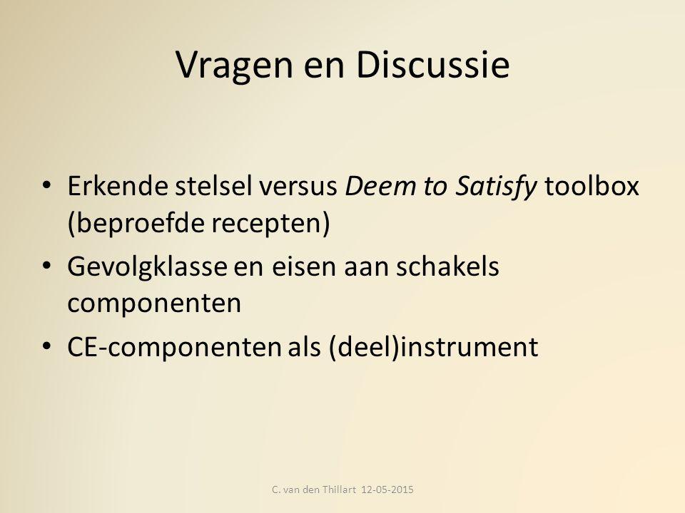 Vragen en Discussie Erkende stelsel versus Deem to Satisfy toolbox (beproefde recepten) Gevolgklasse en eisen aan schakels componenten.