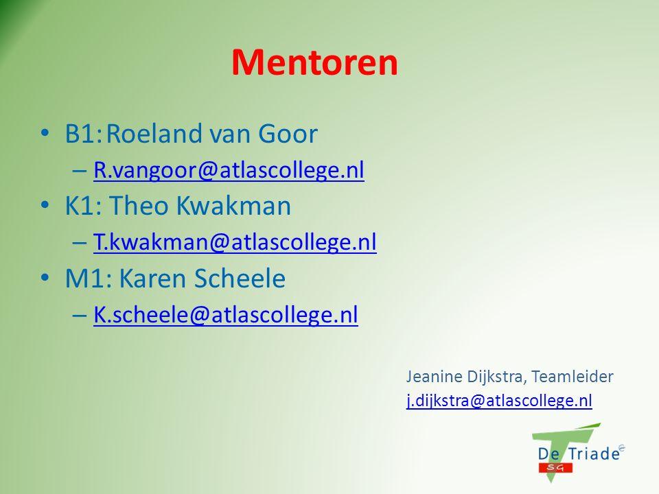 Mentoren B1: Roeland van Goor K1: Theo Kwakman M1: Karen Scheele