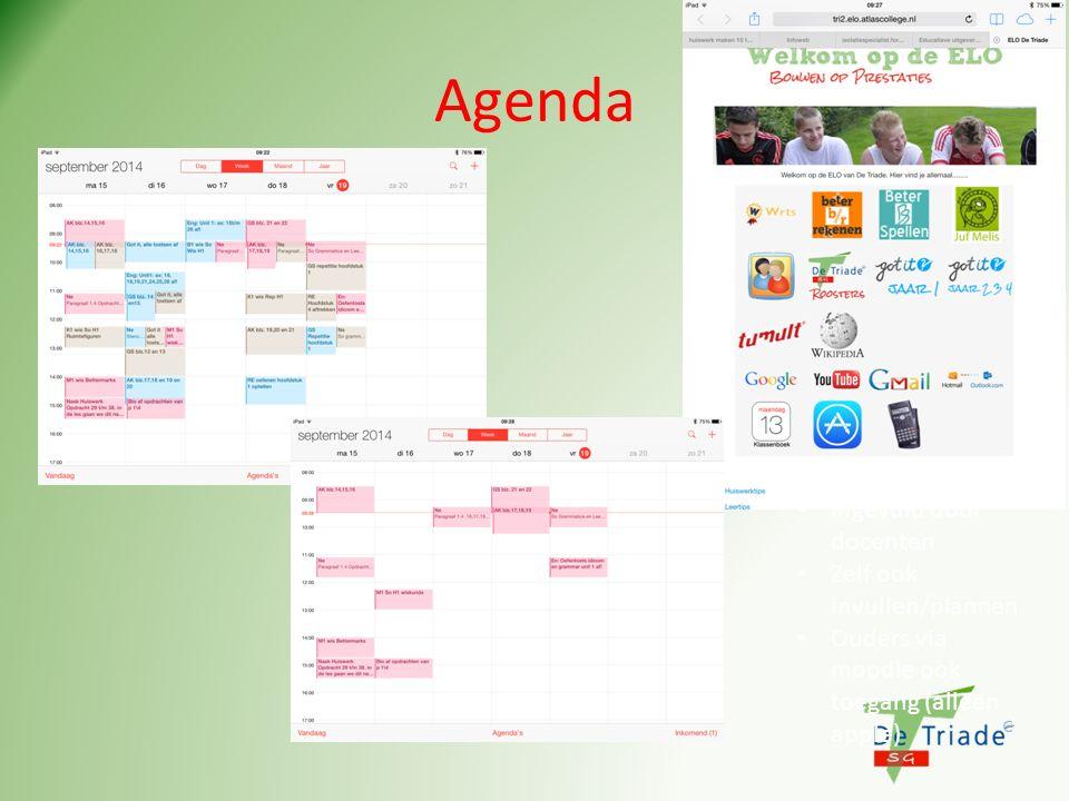 Agenda Ingevuld door docenten Zelf ook invullen/plannen