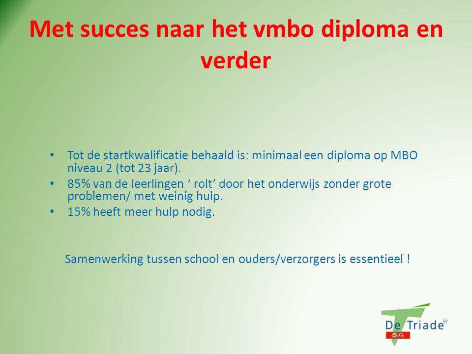 Met succes naar het vmbo diploma en verder