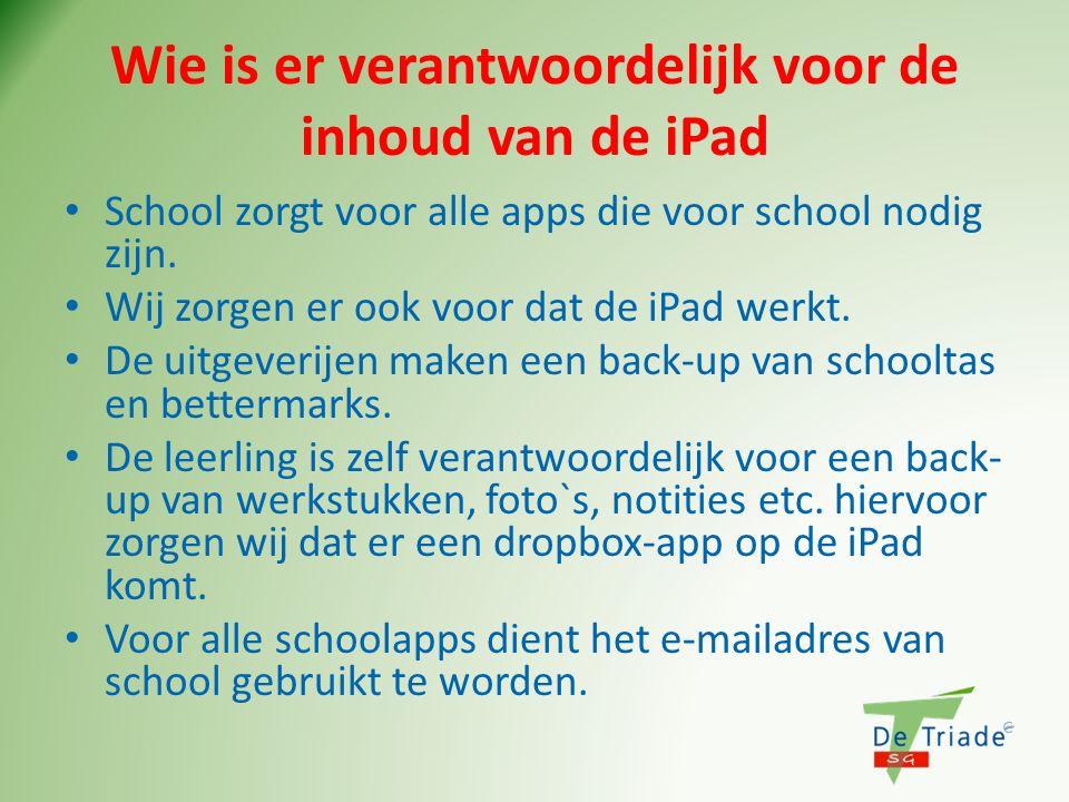 Wie is er verantwoordelijk voor de inhoud van de iPad