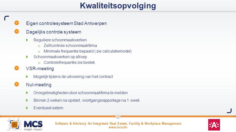 Kwaliteitsopvolging Eigen controlesysteem Stad Antwerpen
