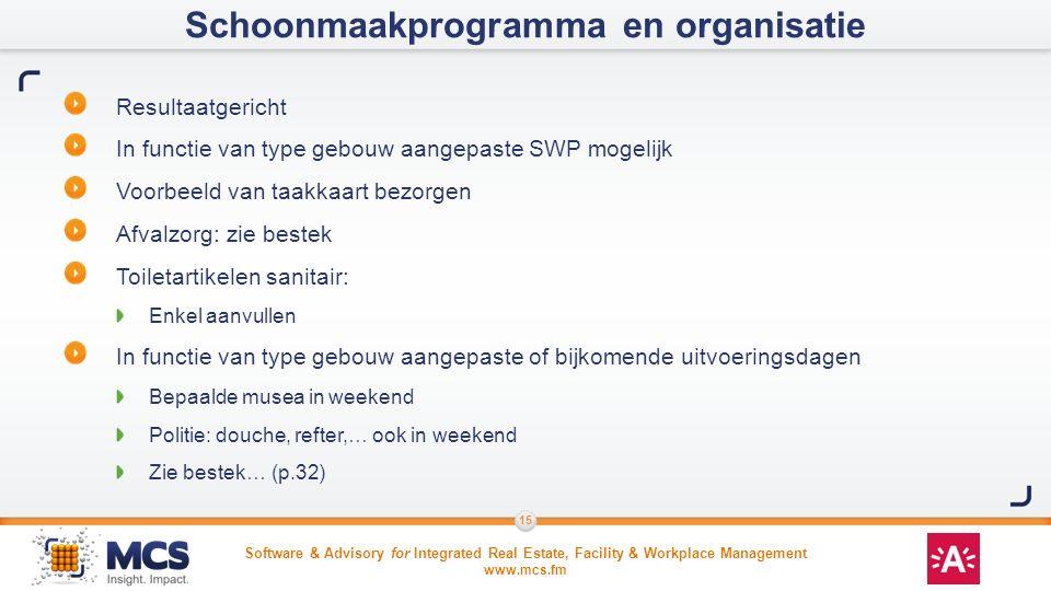 Schoonmaakprogramma en organisatie