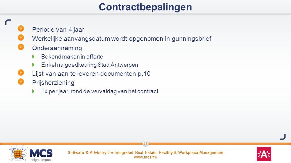 Contractbepalingen Periode van 4 jaar