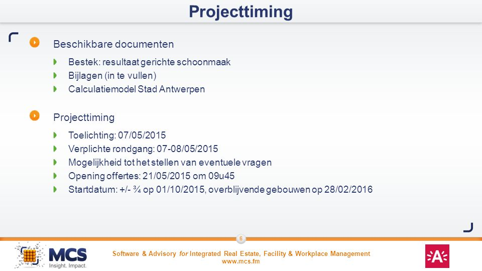 Projecttiming Beschikbare documenten Projecttiming