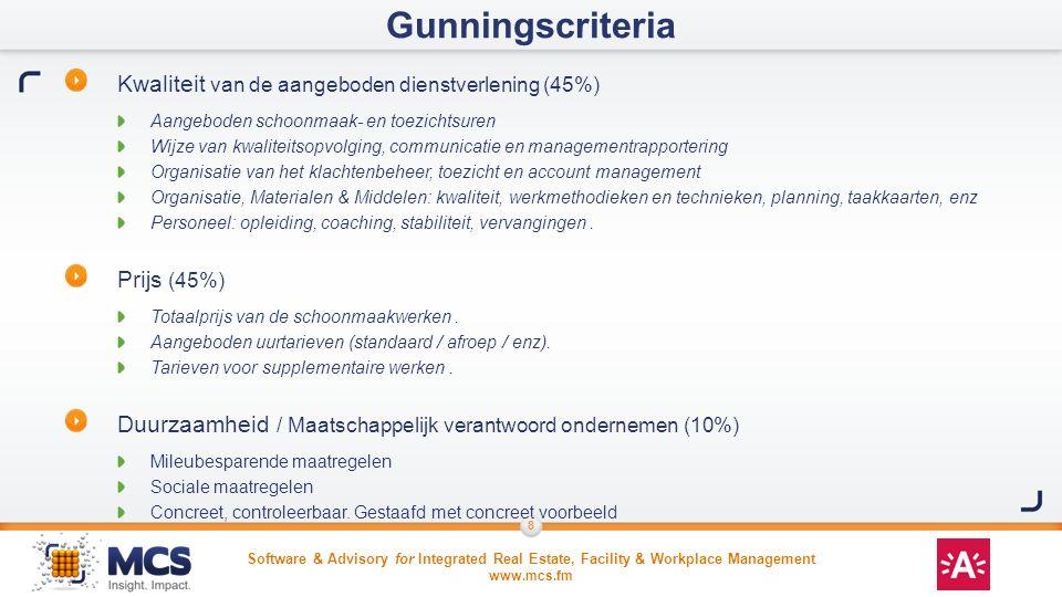 Gunningscriteria Kwaliteit van de aangeboden dienstverlening (45%)