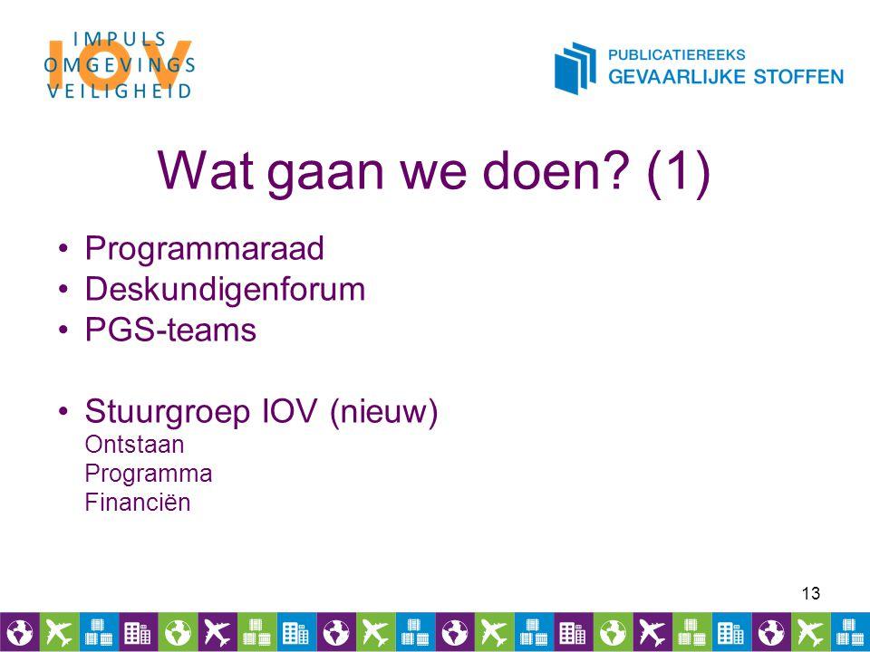 Wat gaan we doen (1) Programmaraad Deskundigenforum PGS-teams