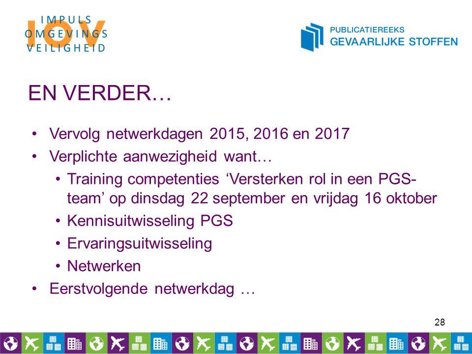 EN VERDER… Vervolg netwerkdagen 2015, 2016 en 2017