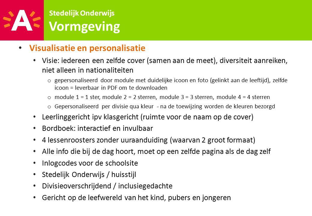 Vormgeving Visualisatie en personalisatie Stedelijk Onderwijs