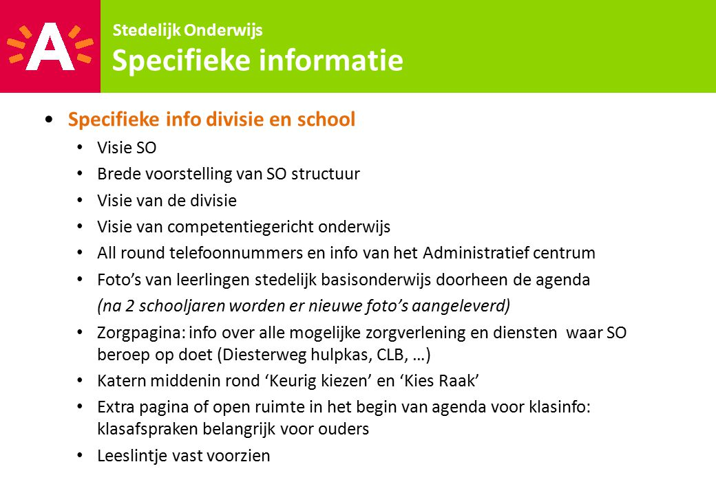 Specifieke informatie