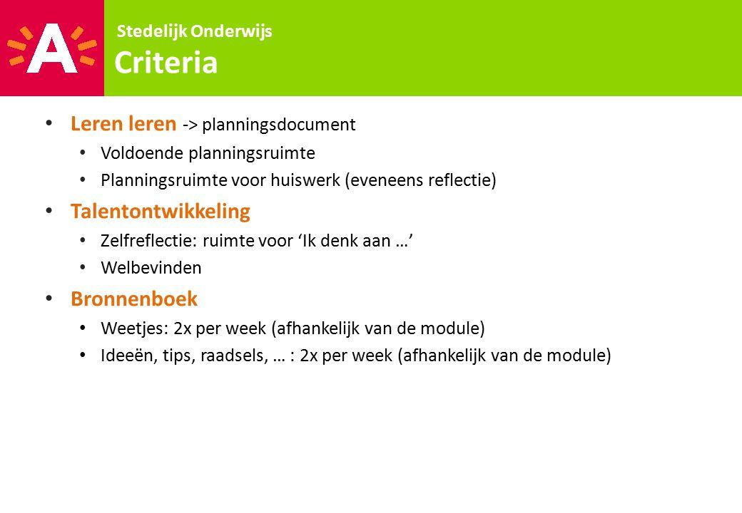Criteria Leren leren -> planningsdocument Talentontwikkeling