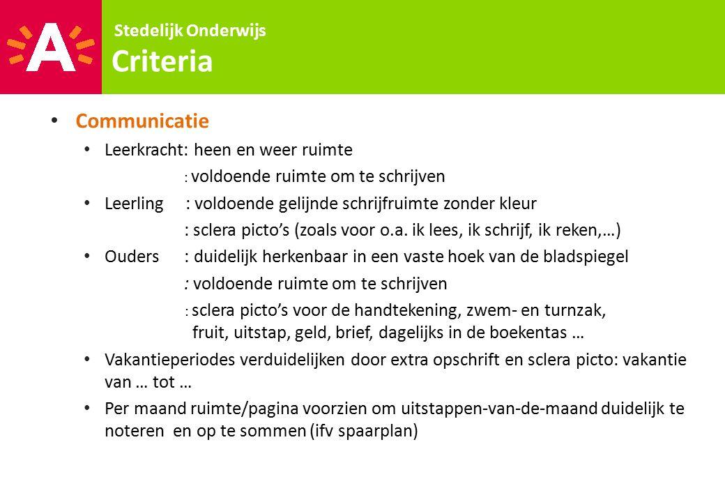 Criteria Communicatie Stedelijk Onderwijs
