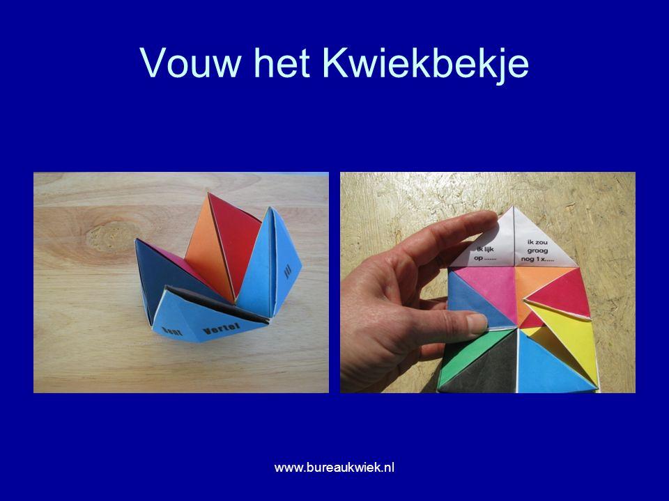 Vouw het Kwiekbekje www.bureaukwiek.nl