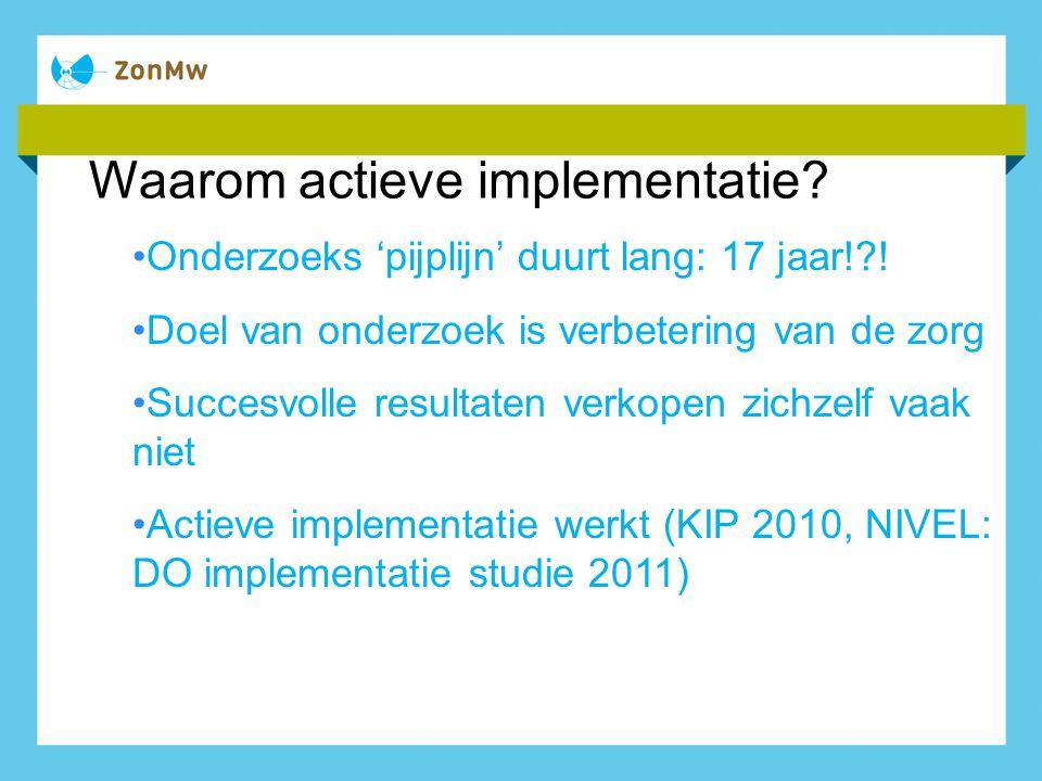Waarom actieve implementatie