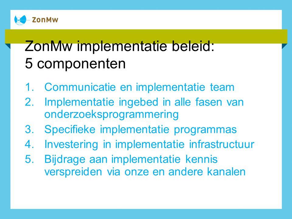 ZonMw implementatie beleid: 5 componenten