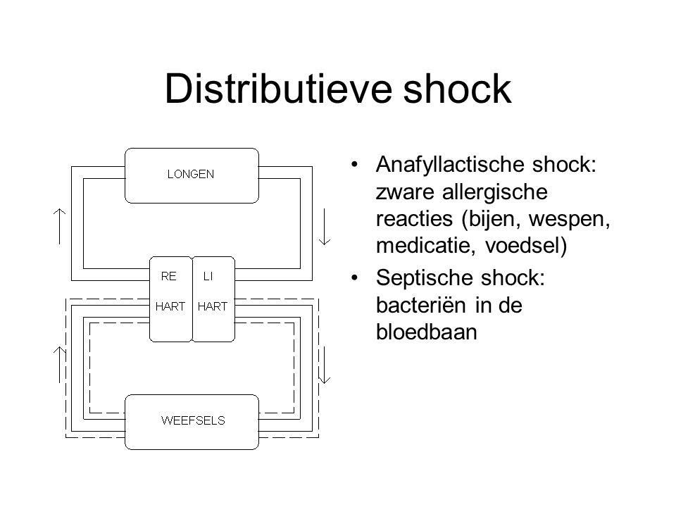 Distributieve shock Anafyllactische shock: zware allergische reacties (bijen, wespen, medicatie, voedsel)
