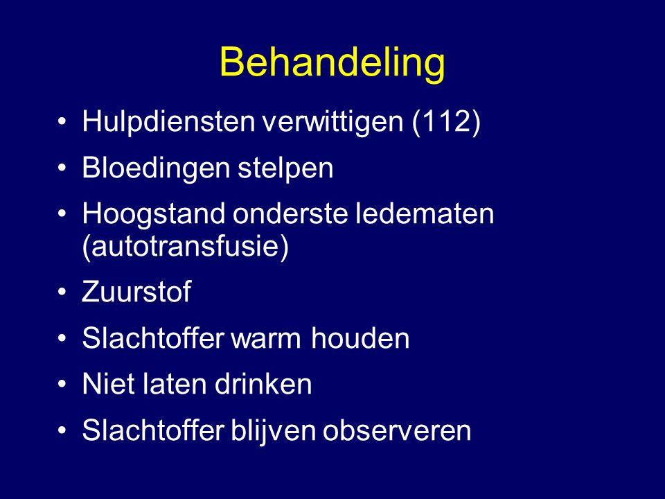 Behandeling Hulpdiensten verwittigen (112) Bloedingen stelpen