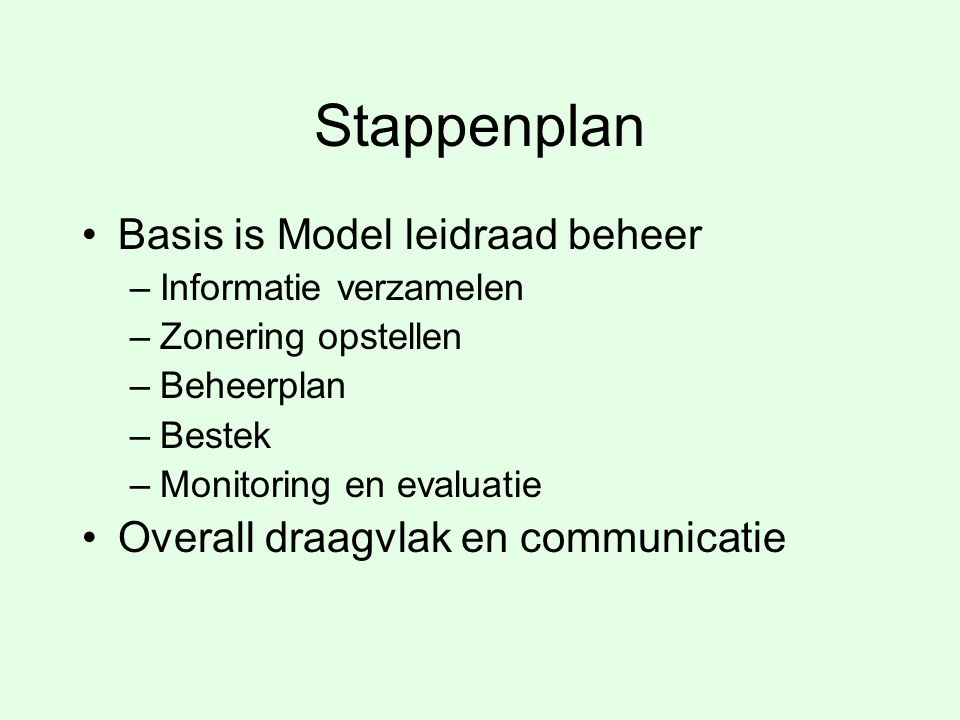 Stappenplan Basis is Model leidraad beheer