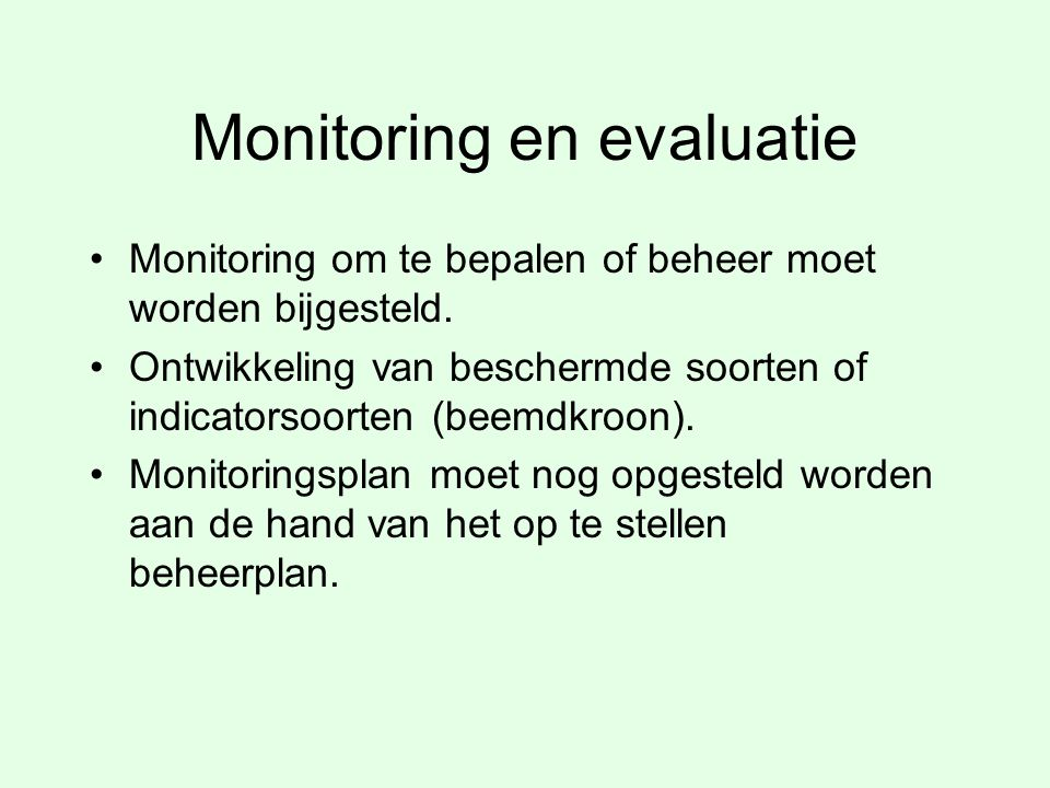 Monitoring en evaluatie