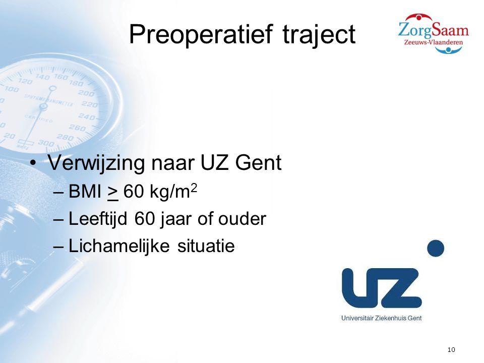 Preoperatief traject Verwijzing naar UZ Gent BMI > 60 kg/m2