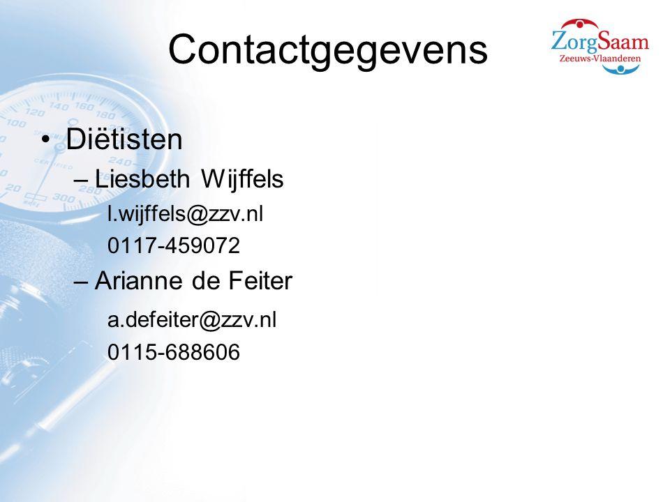 Contactgegevens Diëtisten Liesbeth Wijffels Arianne de Feiter