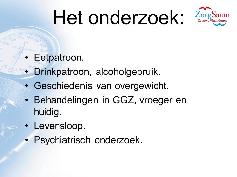 Het onderzoek: Eetpatroon. Drinkpatroon, alcoholgebruik.