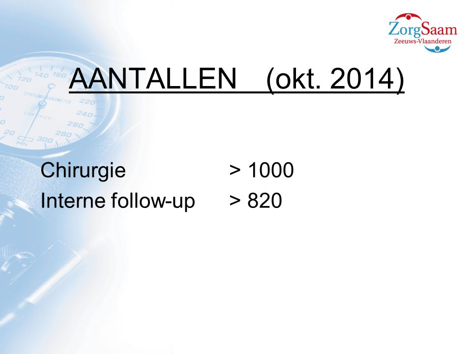 AANTALLEN (okt. 2014) Chirurgie > 1000 Interne follow-up > 820