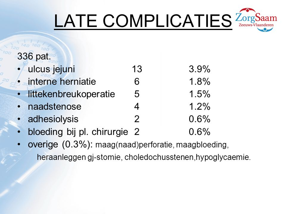 LATE COMPLICATIES 336 pat. ulcus jejuni 13 3.9%