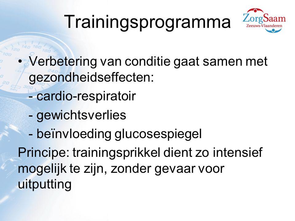 Trainingsprogramma Verbetering van conditie gaat samen met gezondheidseffecten: - cardio-respiratoir.