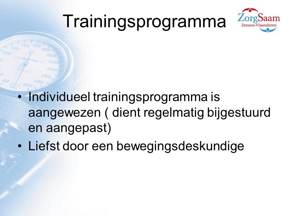 Trainingsprogramma Individueel trainingsprogramma is aangewezen ( dient regelmatig bijgestuurd en aangepast)