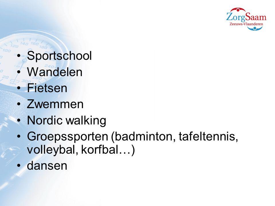 Sportschool Wandelen. Fietsen. Zwemmen. Nordic walking. Groepssporten (badminton, tafeltennis, volleybal, korfbal…)