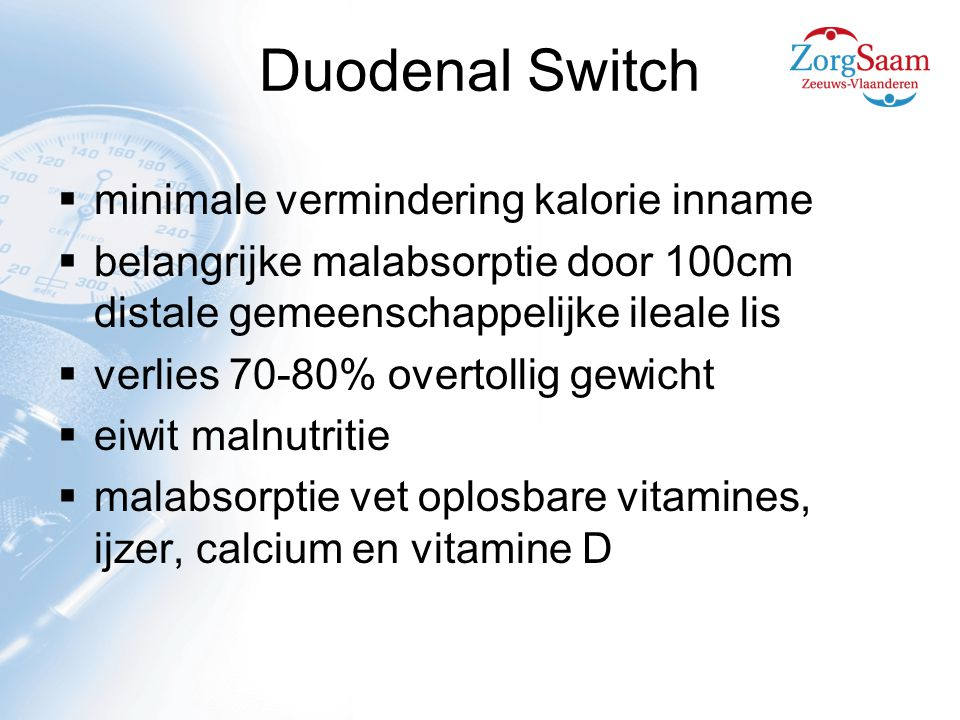 Duodenal Switch minimale vermindering kalorie inname