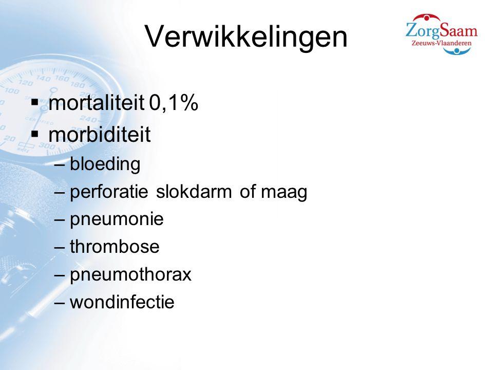 Verwikkelingen mortaliteit 0,1% morbiditeit bloeding