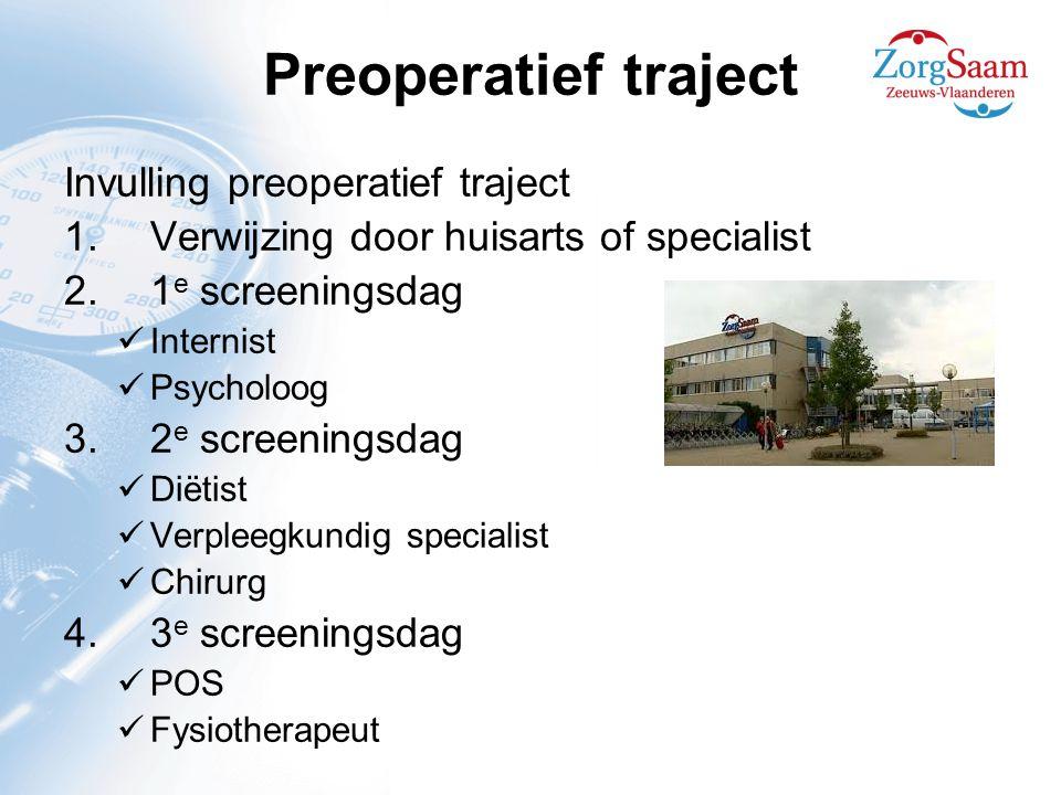 Preoperatief traject Invulling preoperatief traject