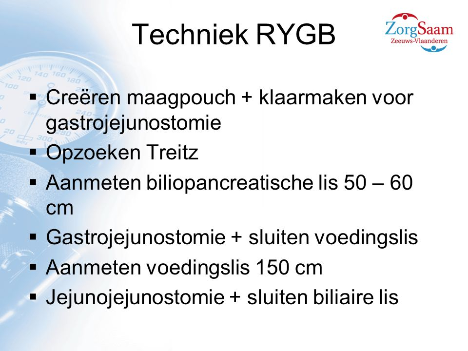 Techniek RYGB Creëren maagpouch + klaarmaken voor gastrojejunostomie