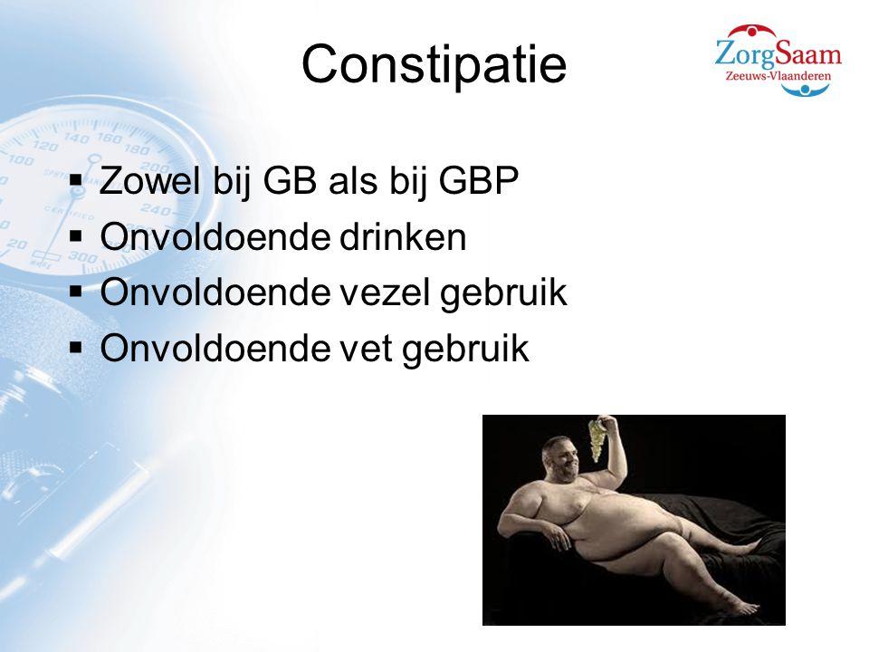 Constipatie Zowel bij GB als bij GBP Onvoldoende drinken
