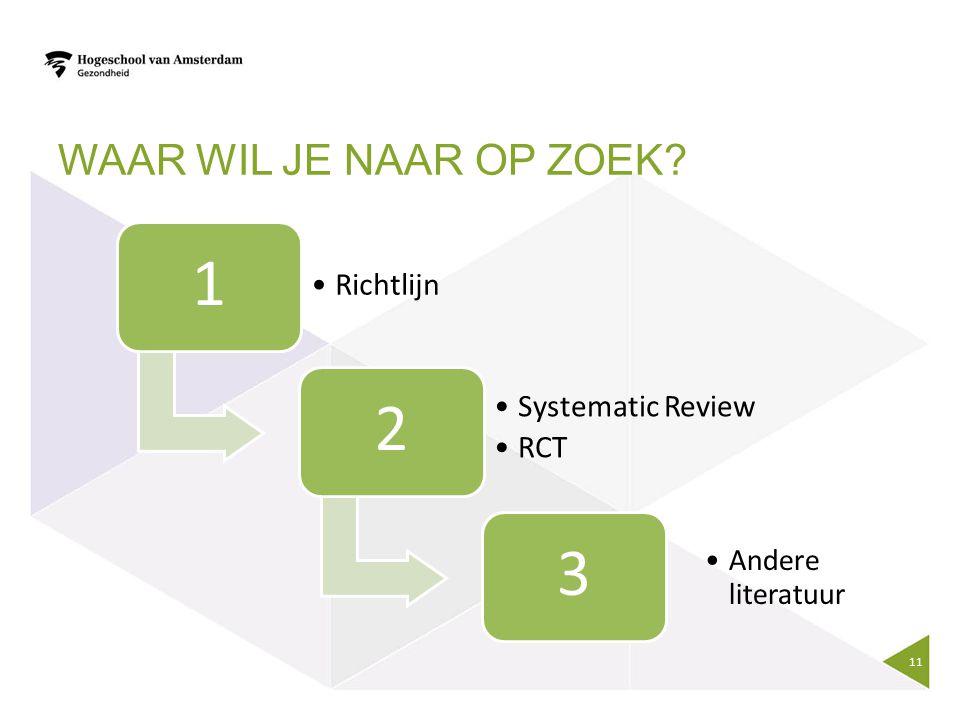 1 2 3 Waar wil je naar op zoek Richtlijn Systematic Review RCT