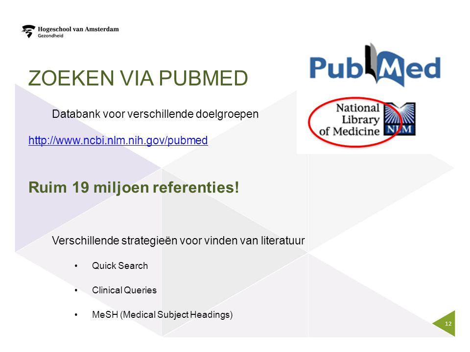 Zoeken via Pubmed Databank voor verschillende doelgroepen