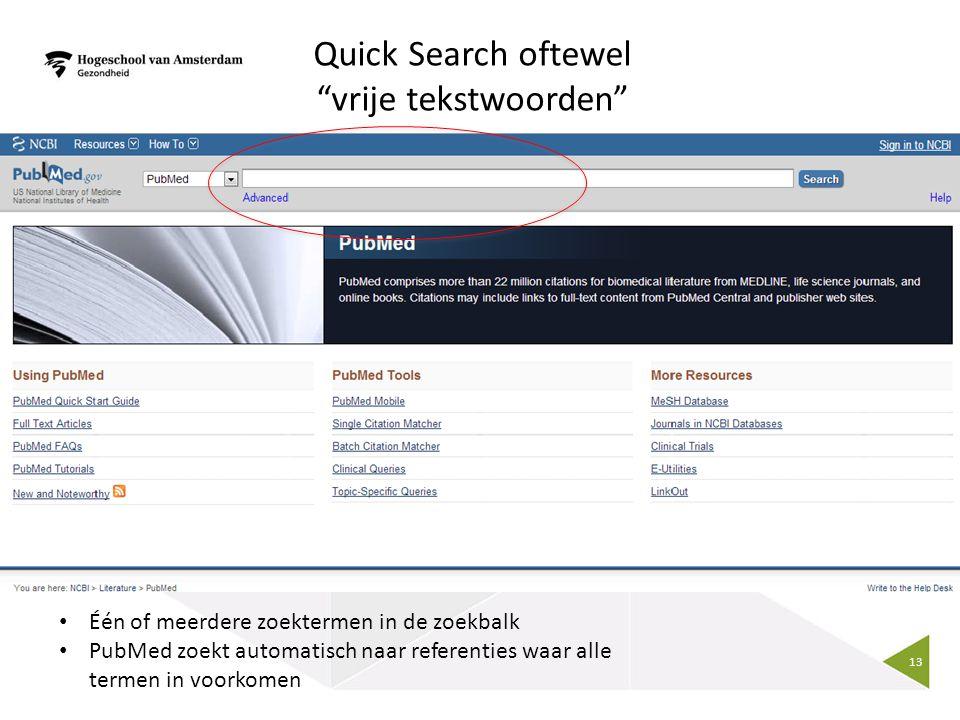 Quick Search oftewel vrije tekstwoorden