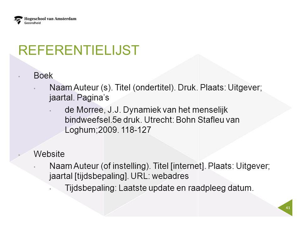 Referentielijst Boek. Naam Auteur (s). Titel (ondertitel). Druk. Plaats: Uitgever; jaartal. Pagina's.