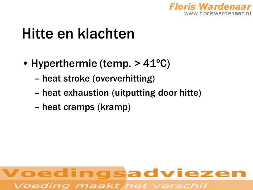 Hitte en klachten Hyperthermie (temp. > 41ºC)