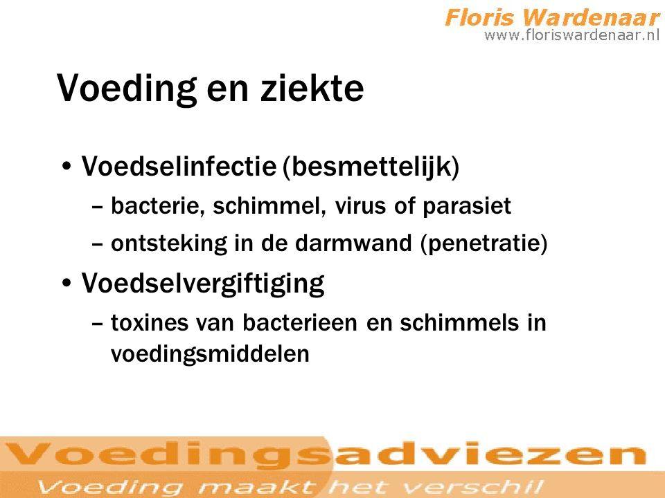 Voeding en ziekte Voedselinfectie (besmettelijk) Voedselvergiftiging