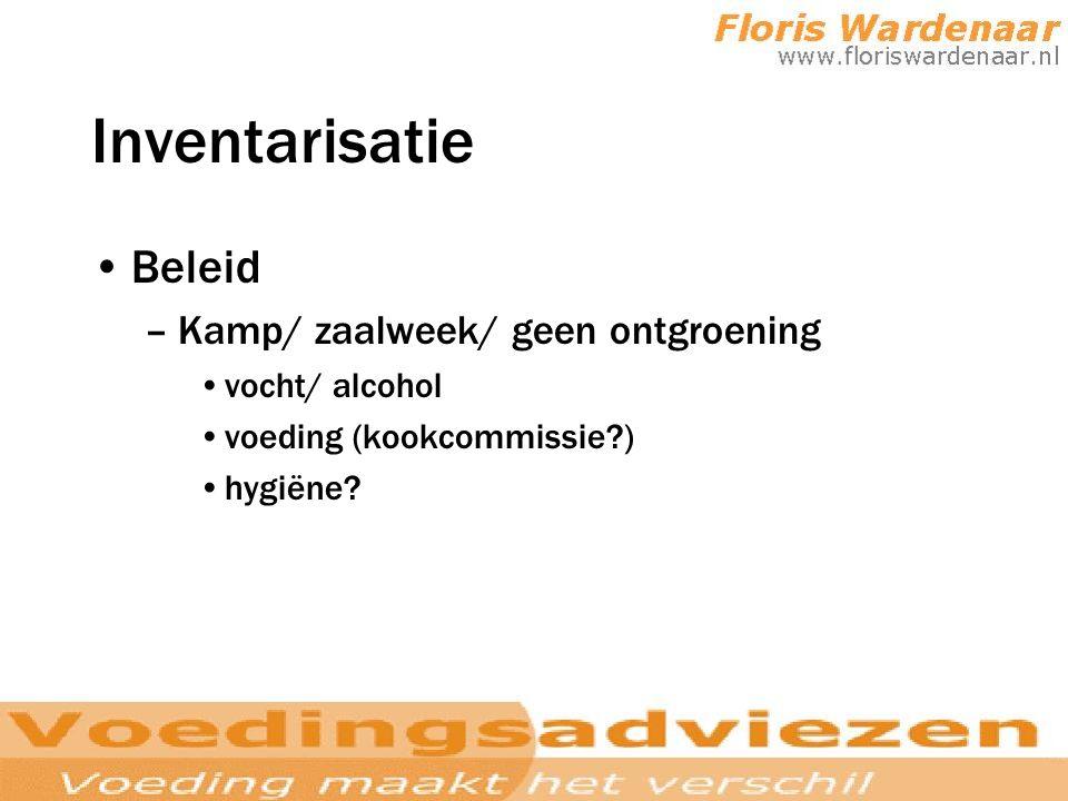 Inventarisatie Beleid Kamp/ zaalweek/ geen ontgroening vocht/ alcohol