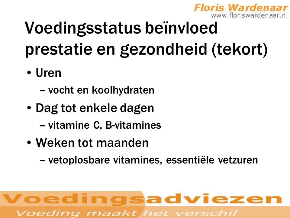 Voedingsstatus beïnvloed prestatie en gezondheid (tekort)