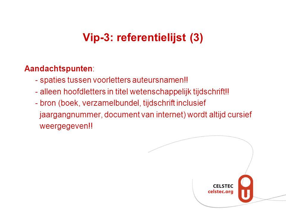 Vip-3: referentielijst (3)