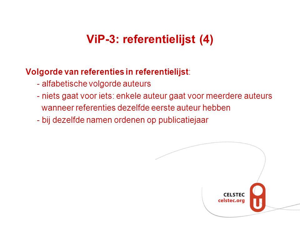 ViP-3: referentielijst (4)