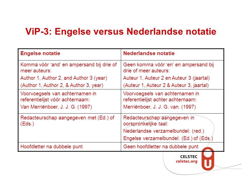 ViP-3: Engelse versus Nederlandse notatie